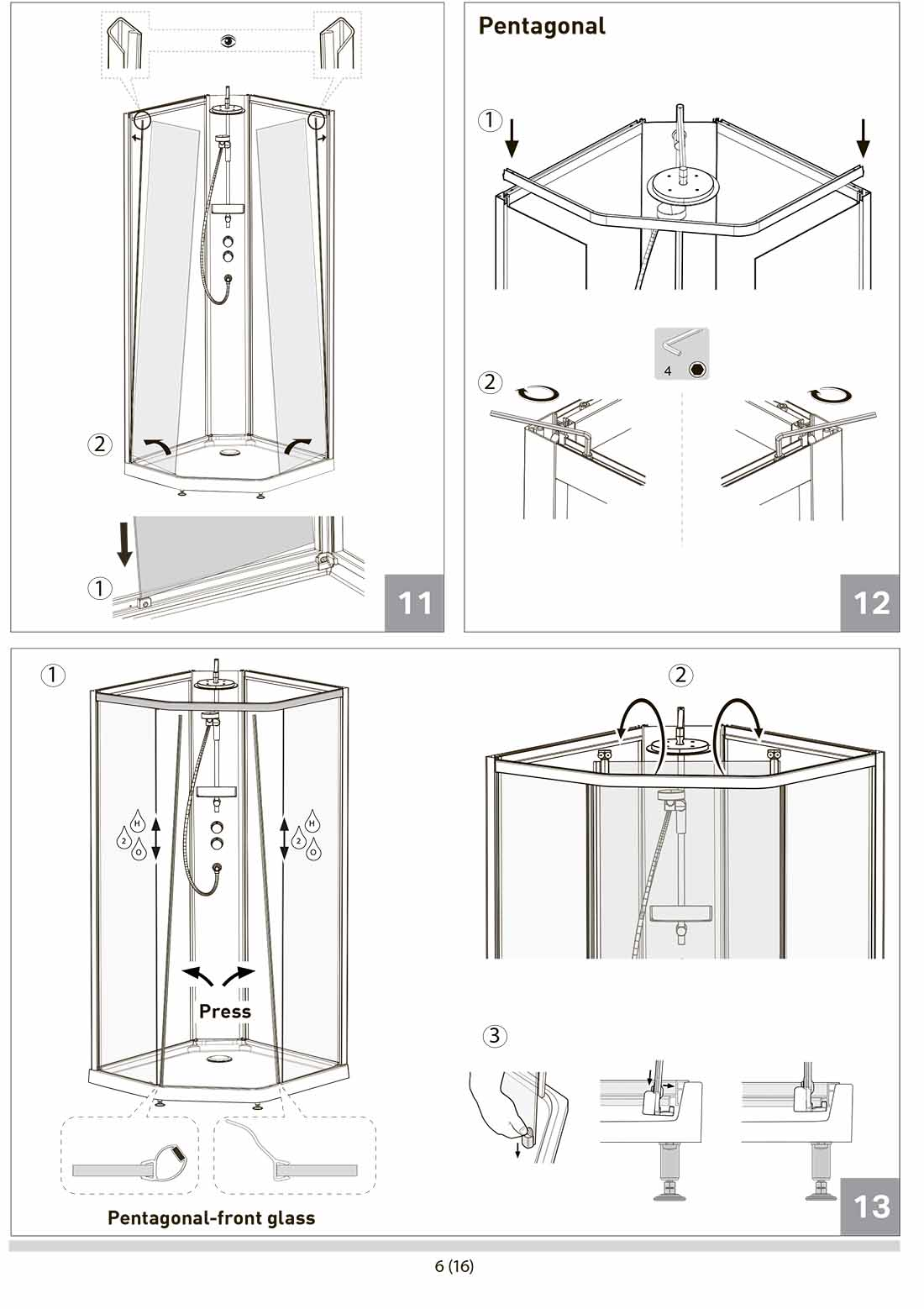 Инструкция в картинках к душевой кабине